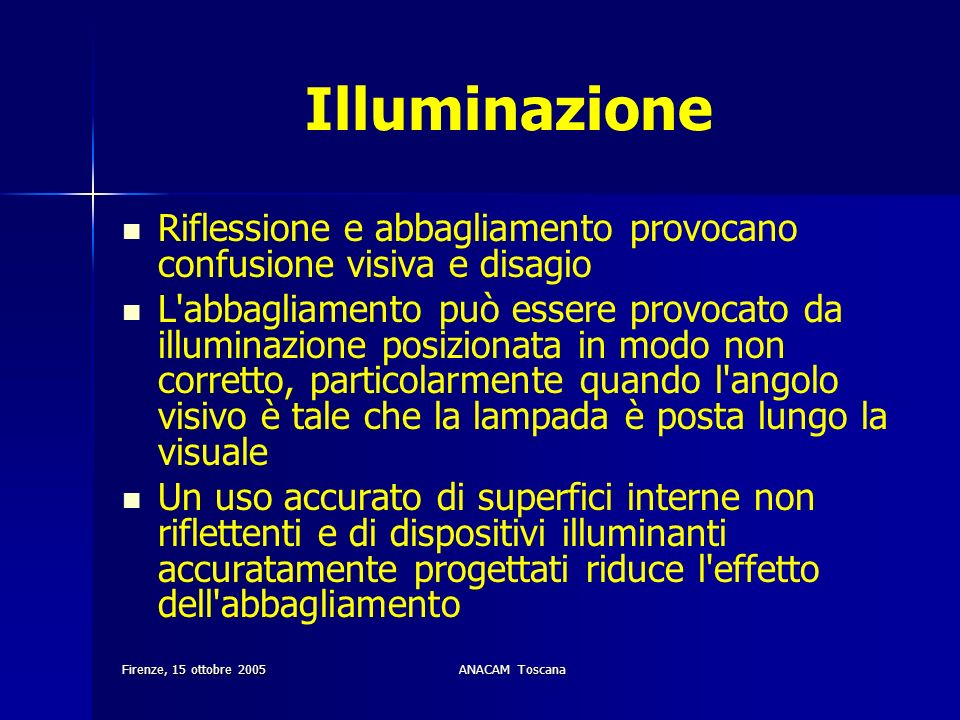 Illuminazione Riflessione e abbagliamento provocano confusione visiva e disagio.