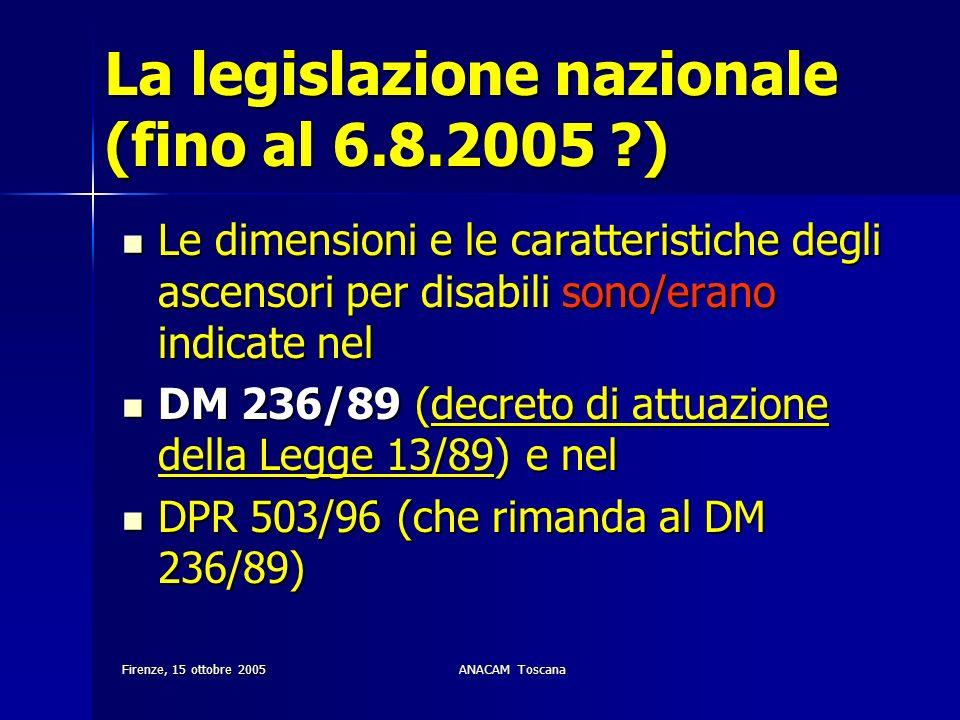 La legislazione nazionale (fino al 6.8.2005 )