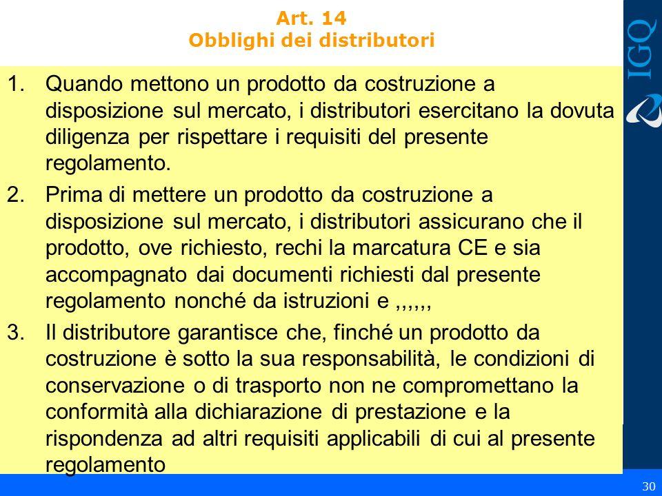 Art. 14 Obblighi dei distributori