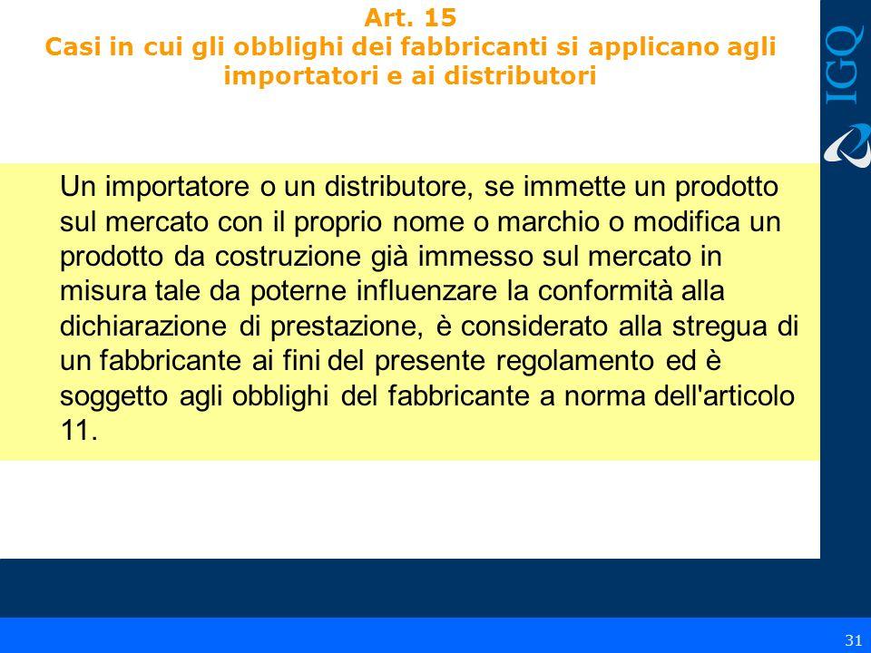 Art. 15 Casi in cui gli obblighi dei fabbricanti si applicano agli importatori e ai distributori