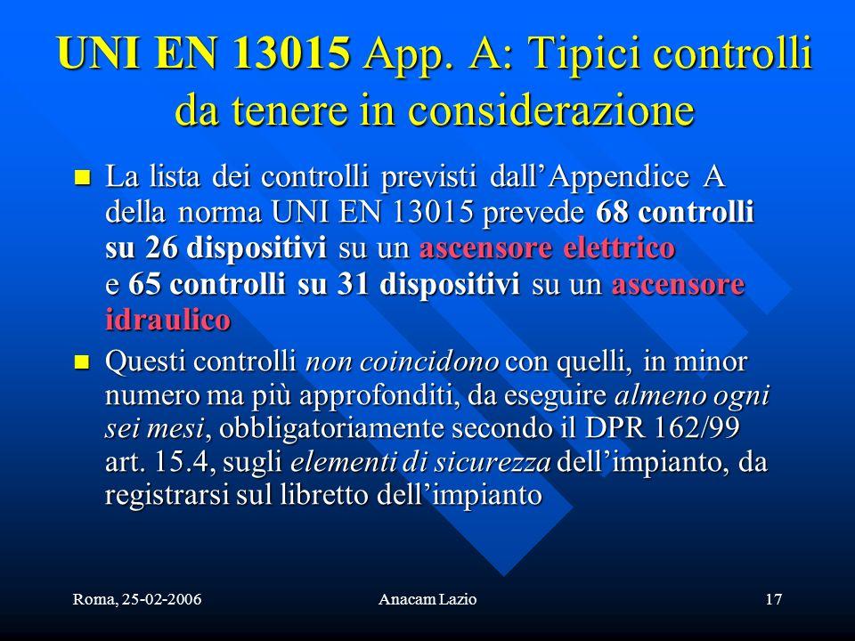 UNI EN 13015 App. A: Tipici controlli da tenere in considerazione