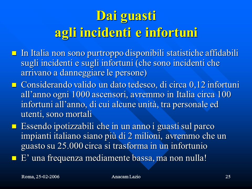 Dai guasti agli incidenti e infortuni