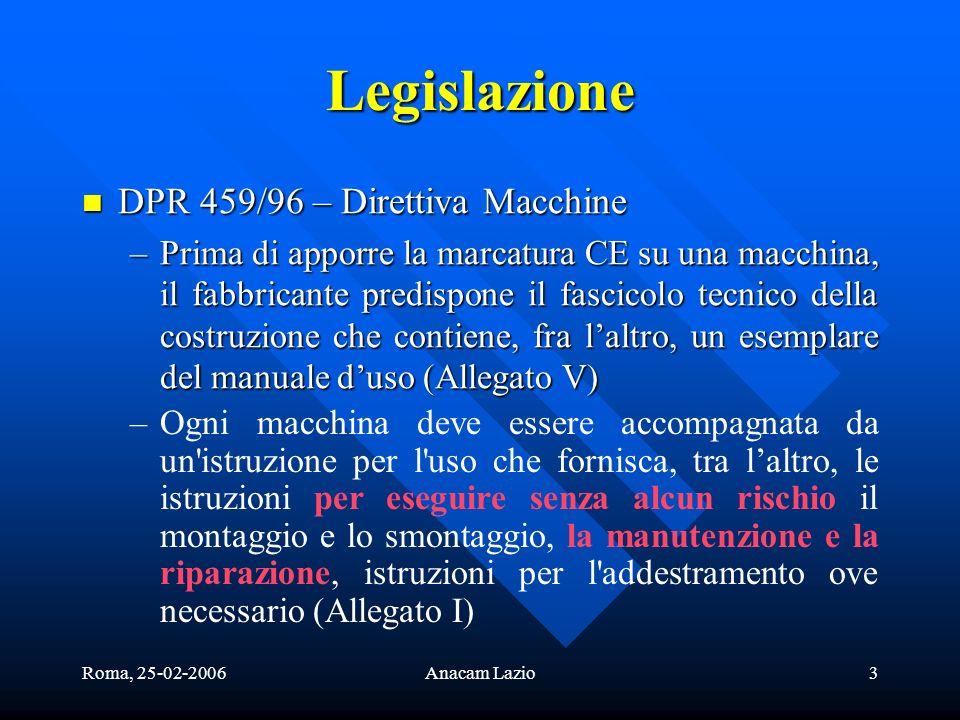 Legislazione DPR 459/96 – Direttiva Macchine
