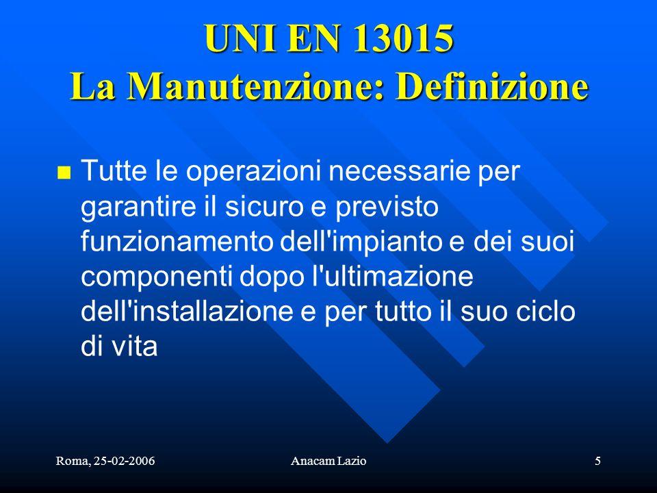 UNI EN 13015 La Manutenzione: Definizione