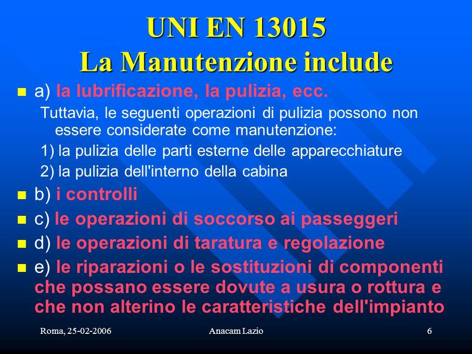 UNI EN 13015 La Manutenzione include