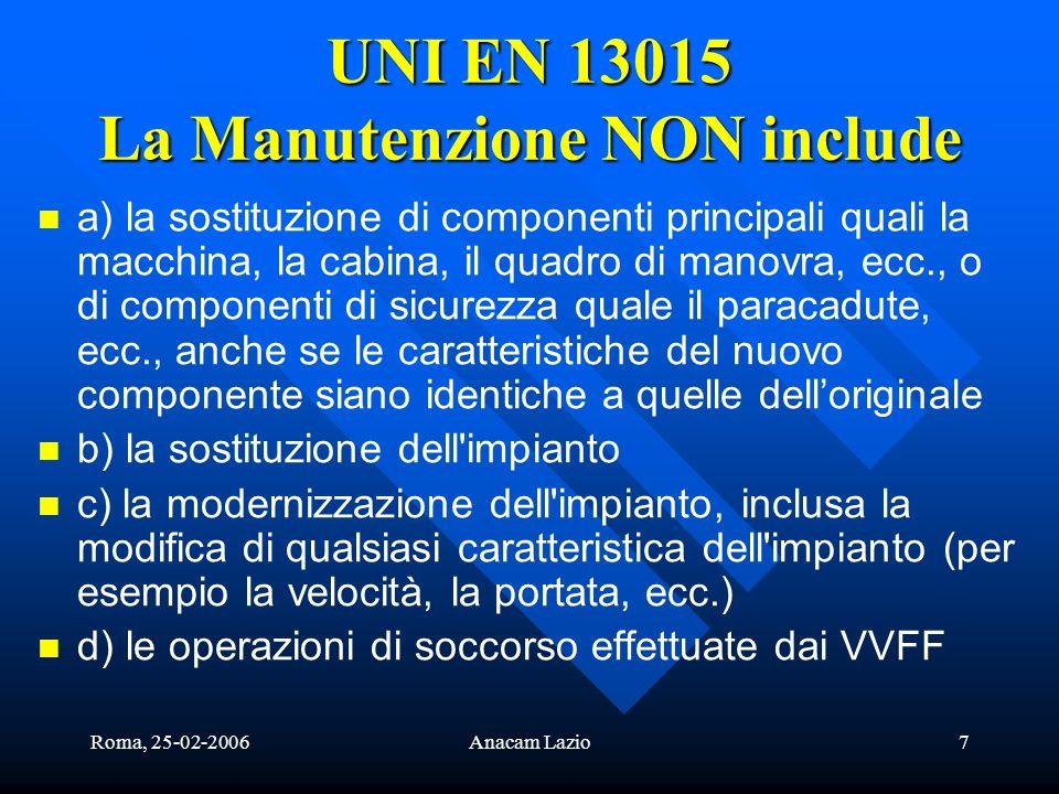 UNI EN 13015 La Manutenzione NON include