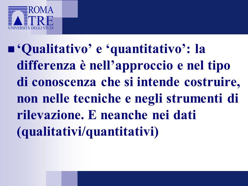 'Qualitativo' e 'quantitativo': la differenza è nell'approccio e nel tipo di conoscenza che si intende costruire, non nelle tecniche e negli strumenti di rilevazione.