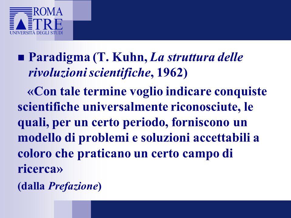 Paradigma (T. Kuhn, La struttura delle rivoluzioni scientifiche, 1962)