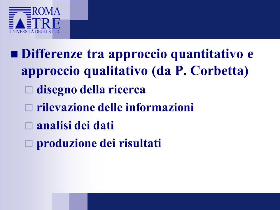 Differenze tra approccio quantitativo e approccio qualitativo (da P