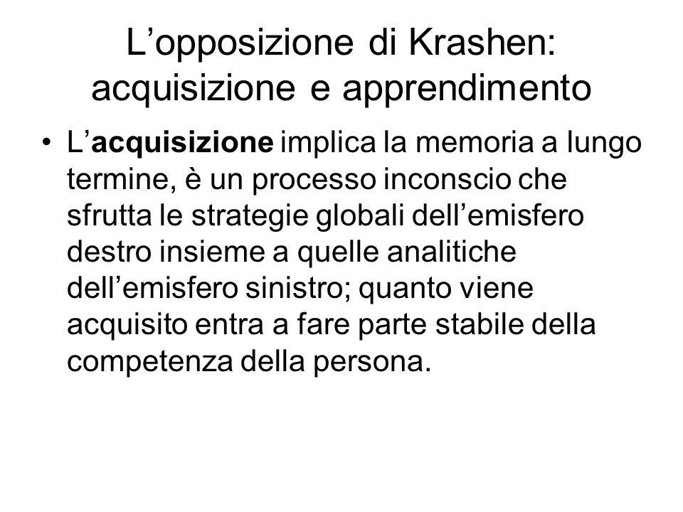 L'opposizione di Krashen: acquisizione e apprendimento