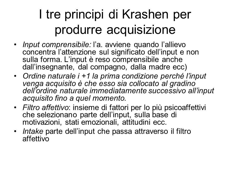I tre principi di Krashen per produrre acquisizione