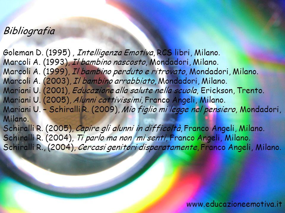 Bibliografia Goleman D. (1995) , Intelligenza Emotiva, RCS libri, Milano. Marcoli A. (1993), Il bambino nascosto, Mondadori, Milano.