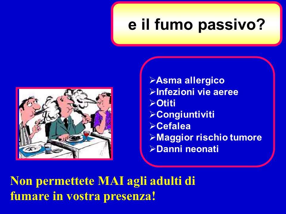 e il fumo passivo Asma allergico. Infezioni vie aeree. Otiti. Congiuntiviti. Cefalea. Maggior rischio tumore.