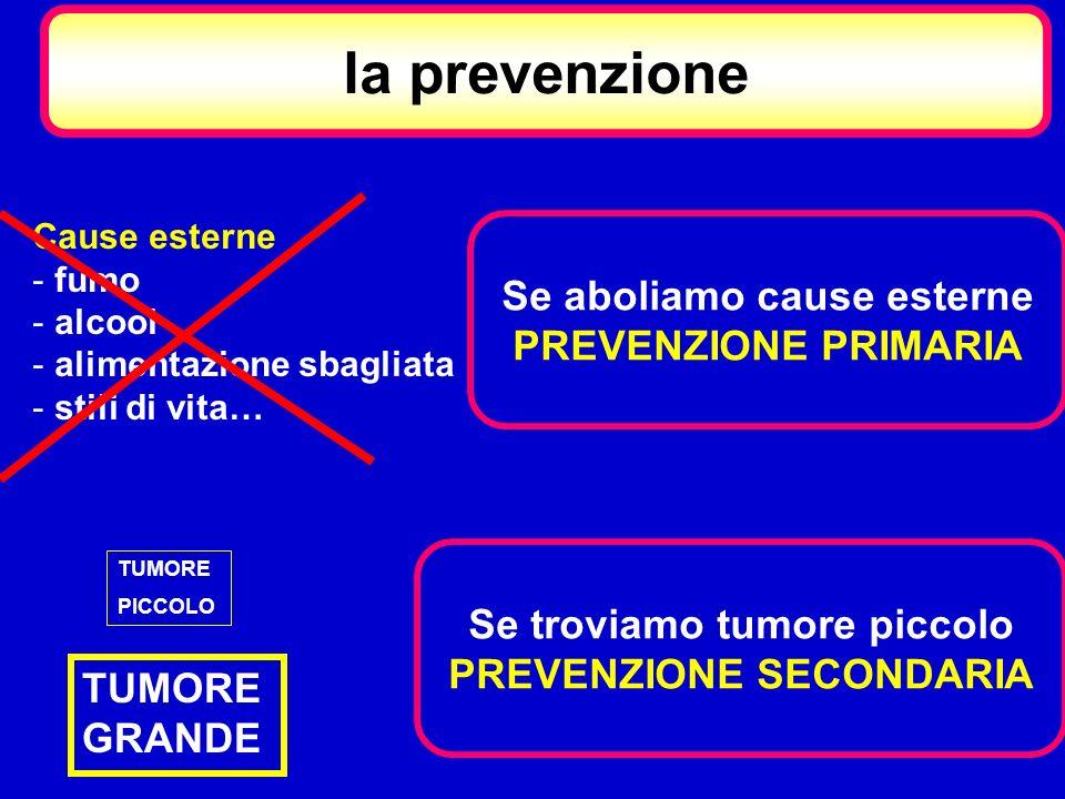 la prevenzione Se aboliamo cause esterne PREVENZIONE PRIMARIA