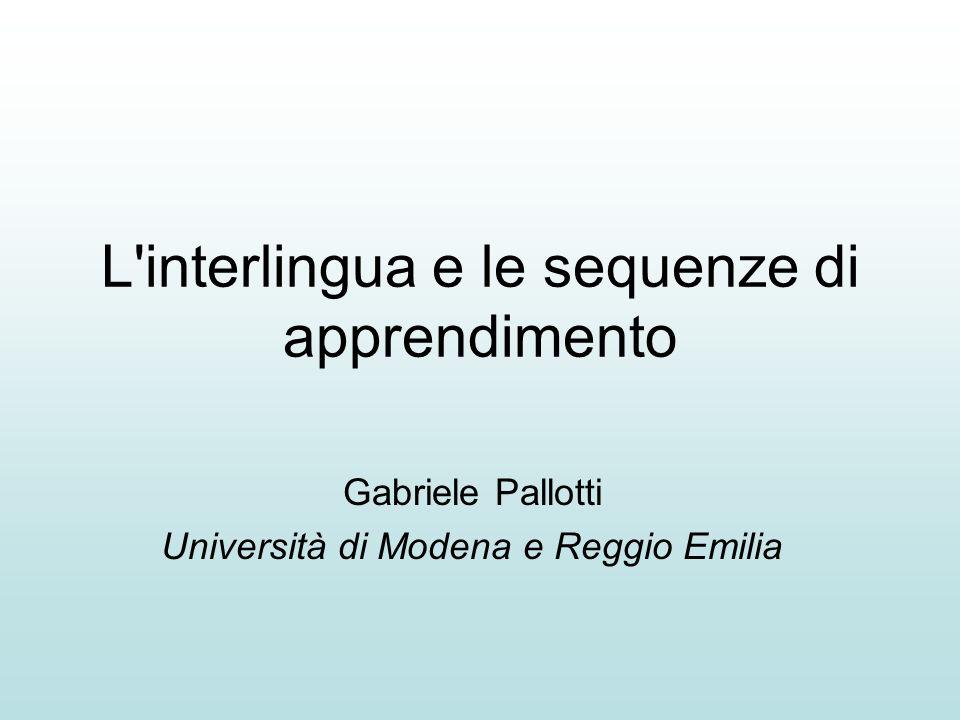 L interlingua e le sequenze di apprendimento