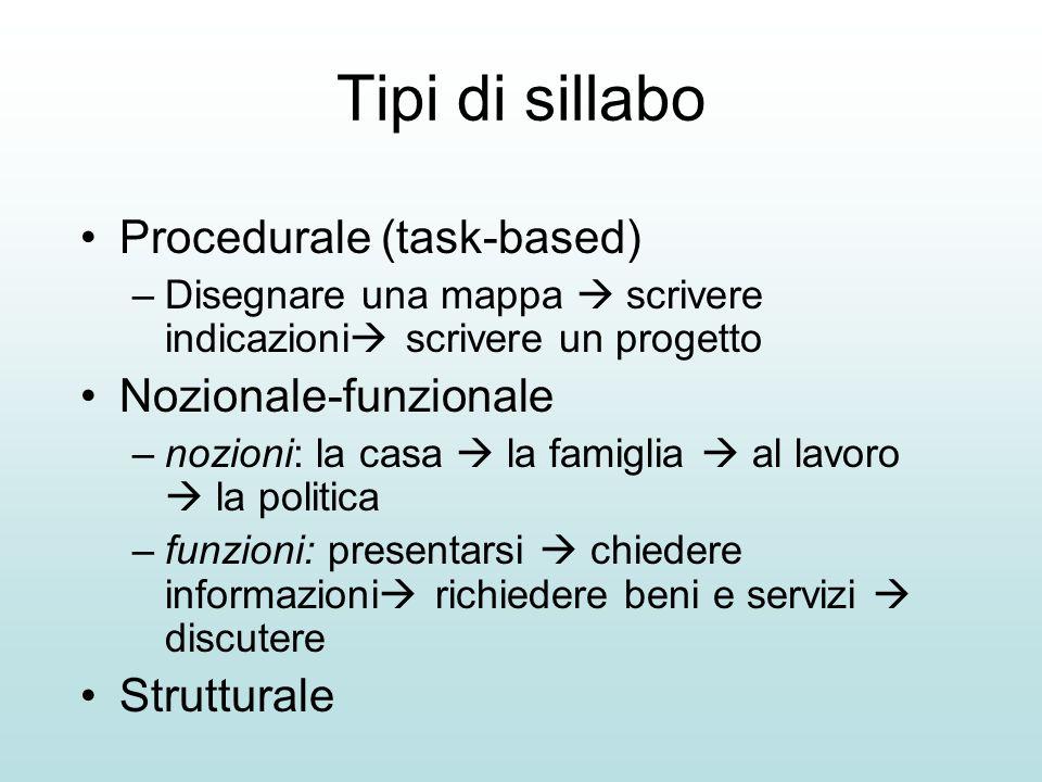 Tipi di sillabo Procedurale (task-based) Nozionale-funzionale