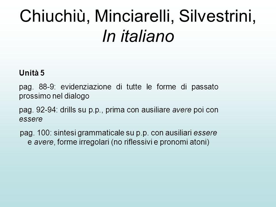 Chiuchiù, Minciarelli, Silvestrini, In italiano