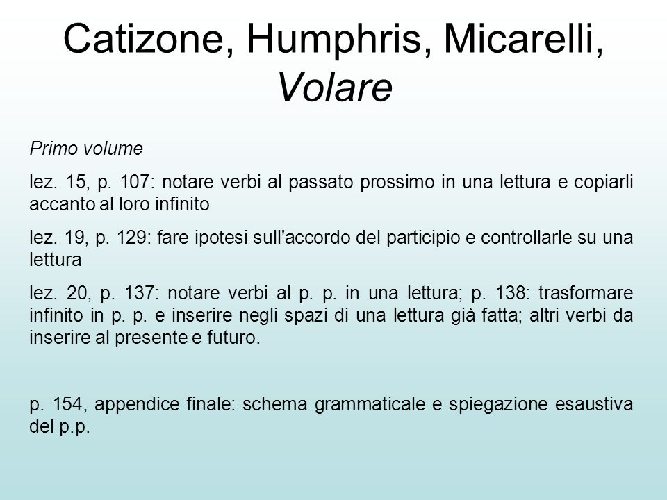 Catizone, Humphris, Micarelli, Volare