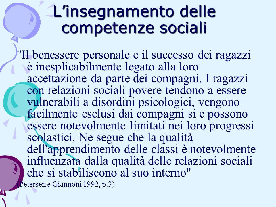 L'insegnamento delle competenze sociali