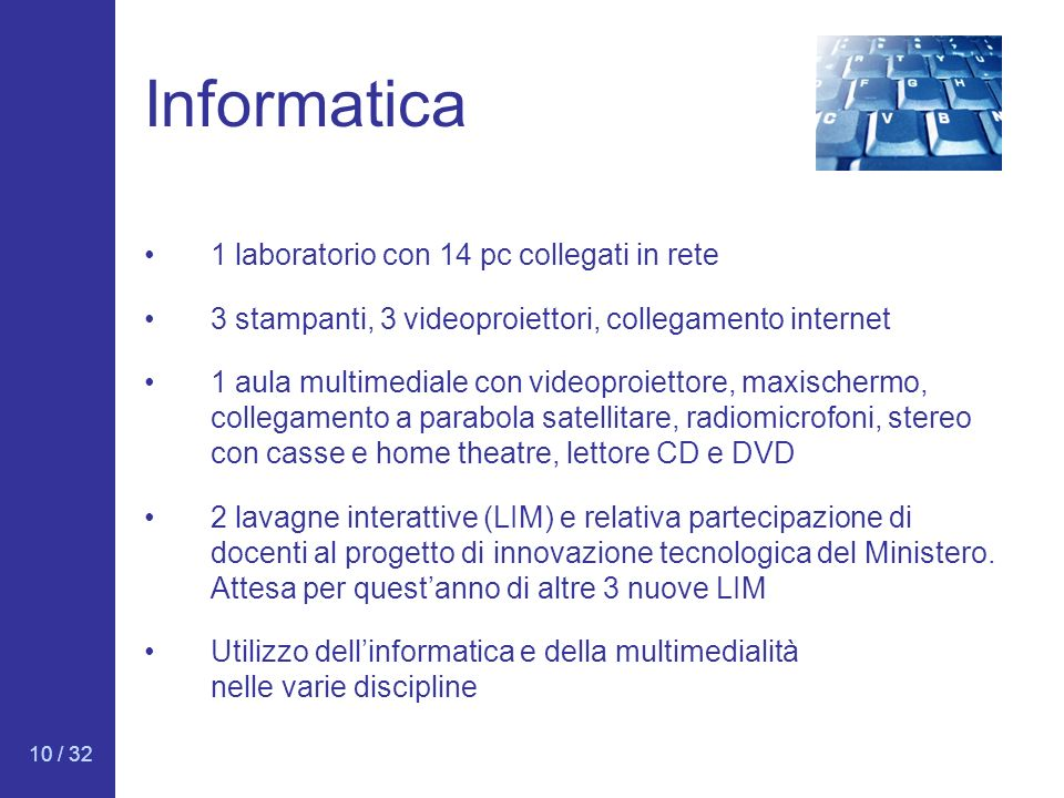 Informatica 1 laboratorio con 14 pc collegati in rete