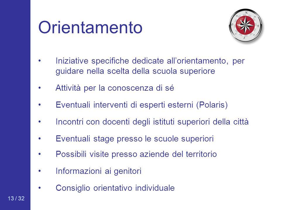 Orientamento Iniziative specifiche dedicate all'orientamento, per guidare nella scelta della scuola superiore.