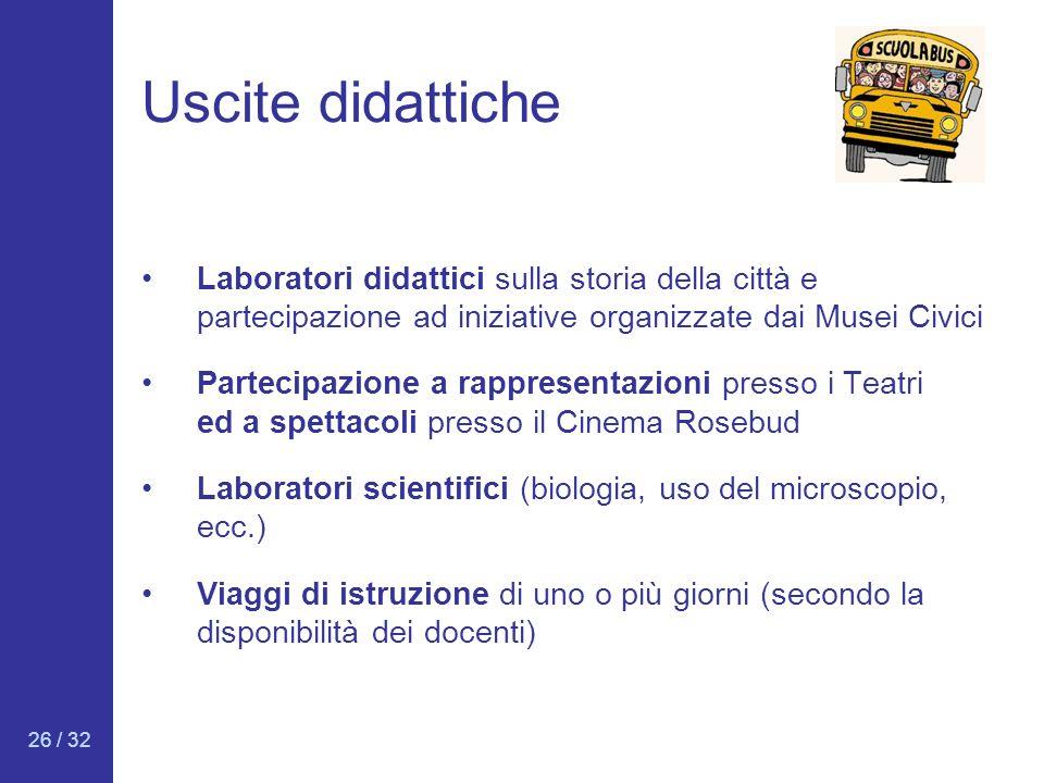 Uscite didattiche Laboratori didattici sulla storia della città e partecipazione ad iniziative organizzate dai Musei Civici.