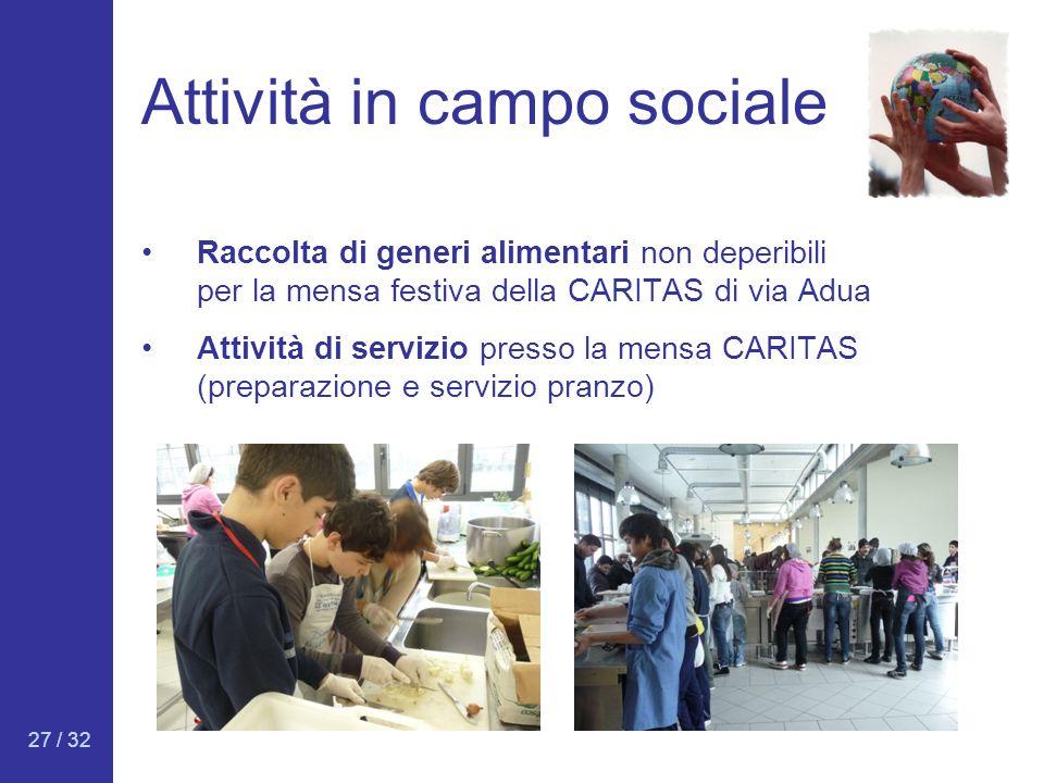 Attività in campo sociale