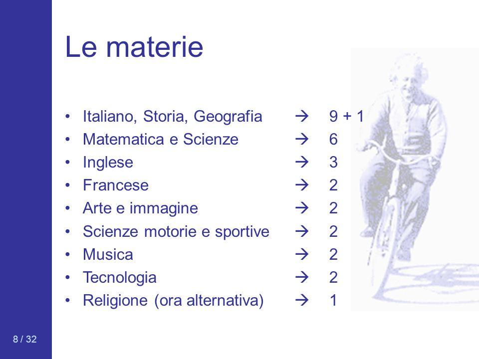 Le materie Italiano, Storia, Geografia  9 + 1