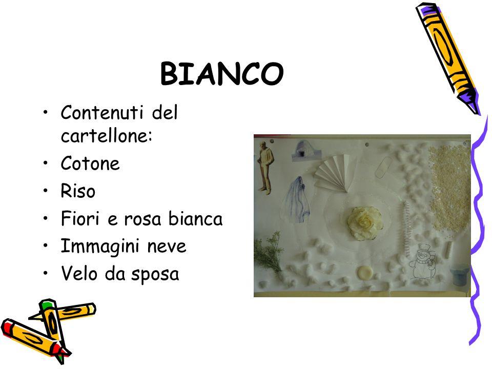 BIANCO Contenuti del cartellone: Cotone Riso Fiori e rosa bianca