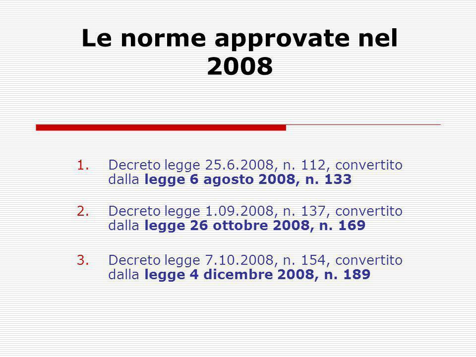 Le norme approvate nel 2008 Decreto legge 25.6.2008, n. 112, convertito dalla legge 6 agosto 2008, n. 133.