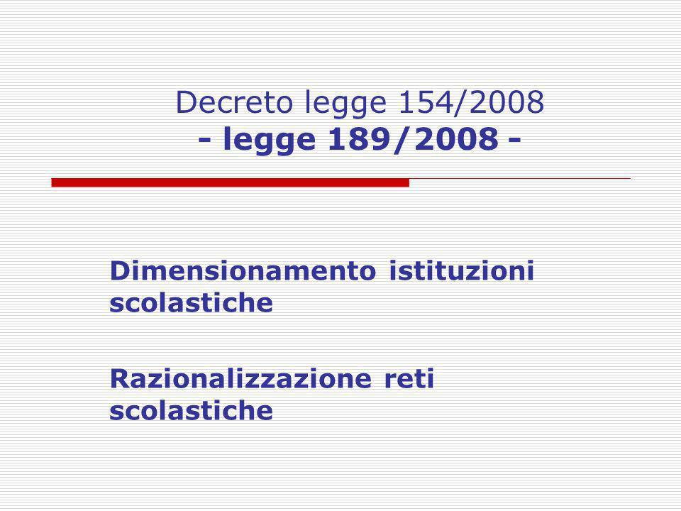 Decreto legge 154/2008 - legge 189/2008 -