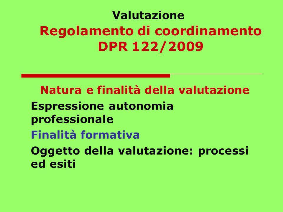 Valutazione Regolamento di coordinamento DPR 122/2009