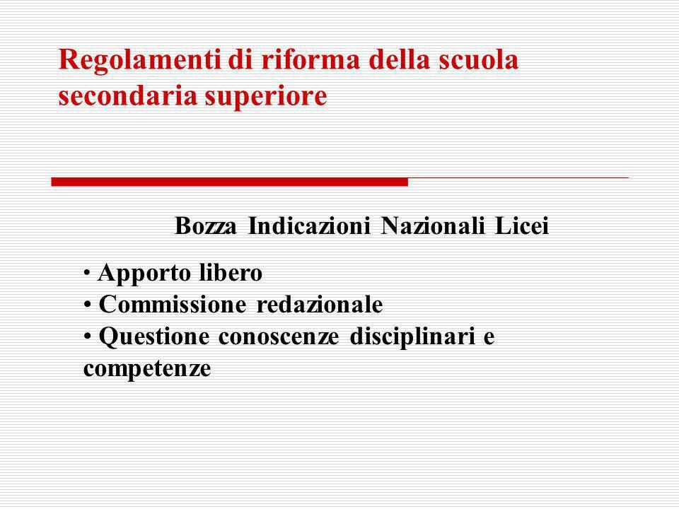 Regolamenti di riforma della scuola secondaria superiore