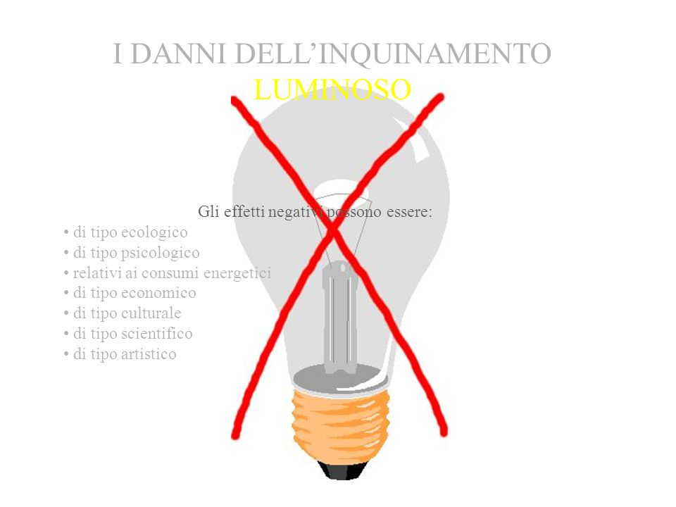 I DANNI DELL'INQUINAMENTO LUMINOSO