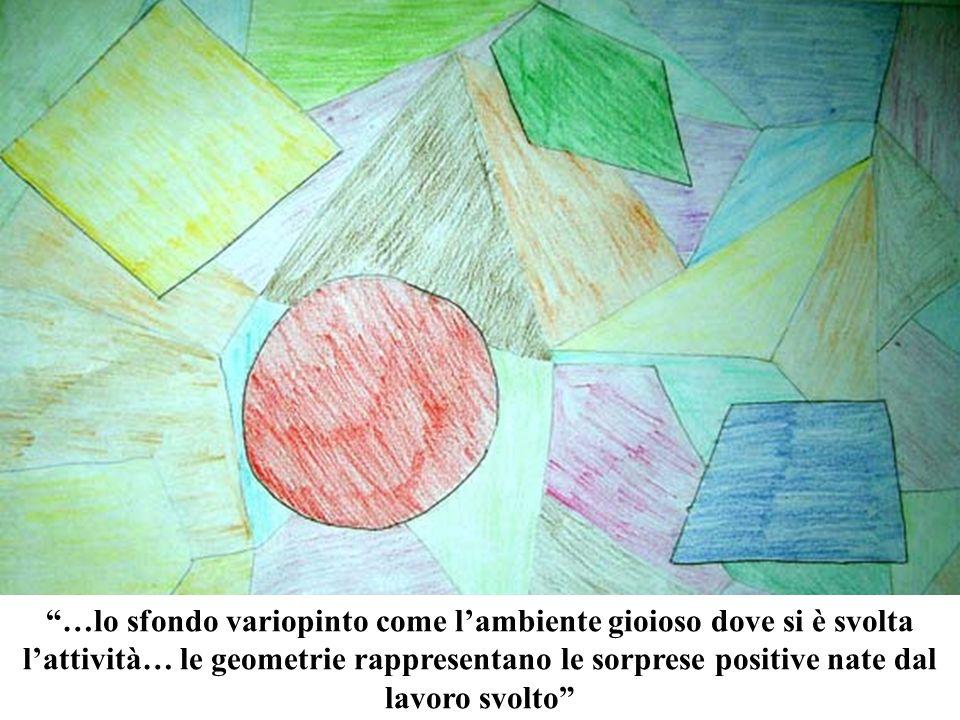 …lo sfondo variopinto come l'ambiente gioioso dove si è svolta l'attività… le geometrie rappresentano le sorprese positive nate dal lavoro svolto