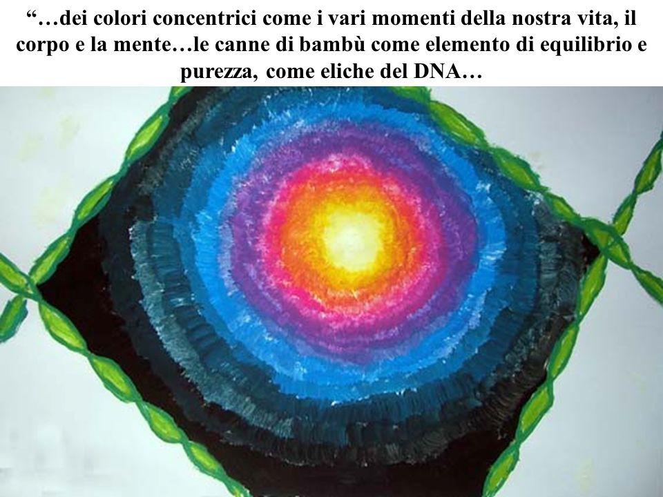 …dei colori concentrici come i vari momenti della nostra vita, il corpo e la mente…le canne di bambù come elemento di equilibrio e purezza, come eliche del DNA…