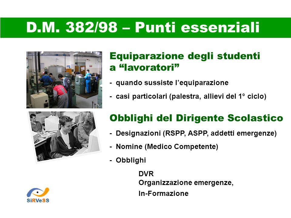 D.M. 382/98 – Punti essenziali Equiparazione degli studenti
