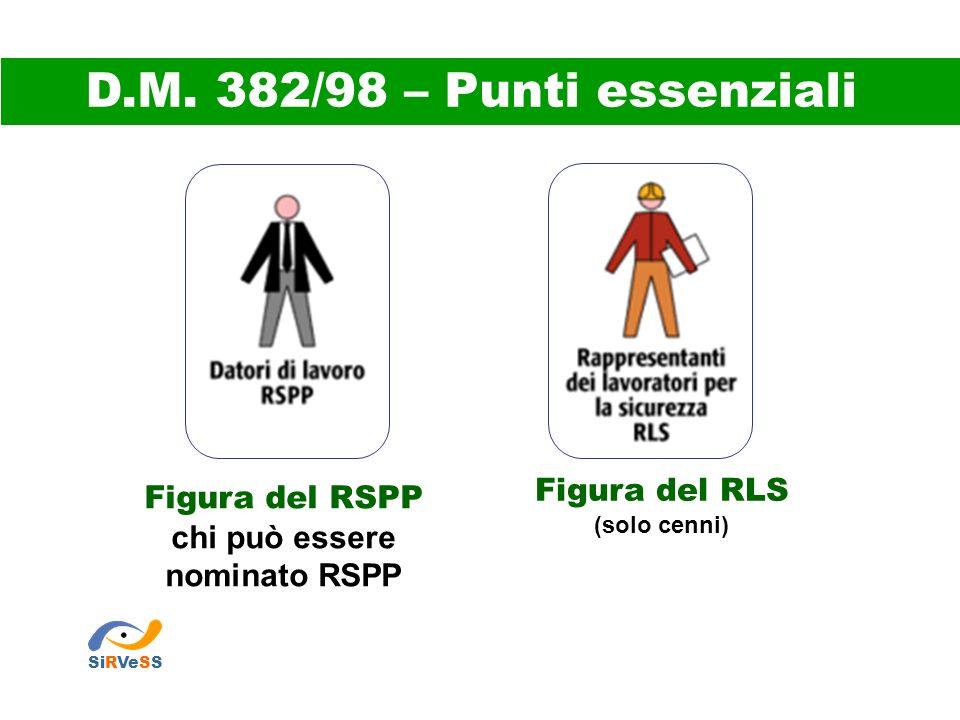 D.M. 382/98 – Punti essenziali Figura del RLS Figura del RSPP