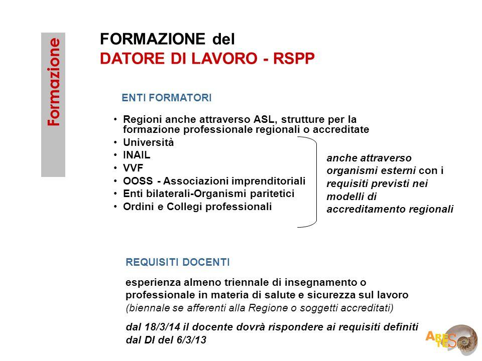 FORMAZIONE del DATORE DI LAVORO - RSPP Formazione ENTI FORMATORI