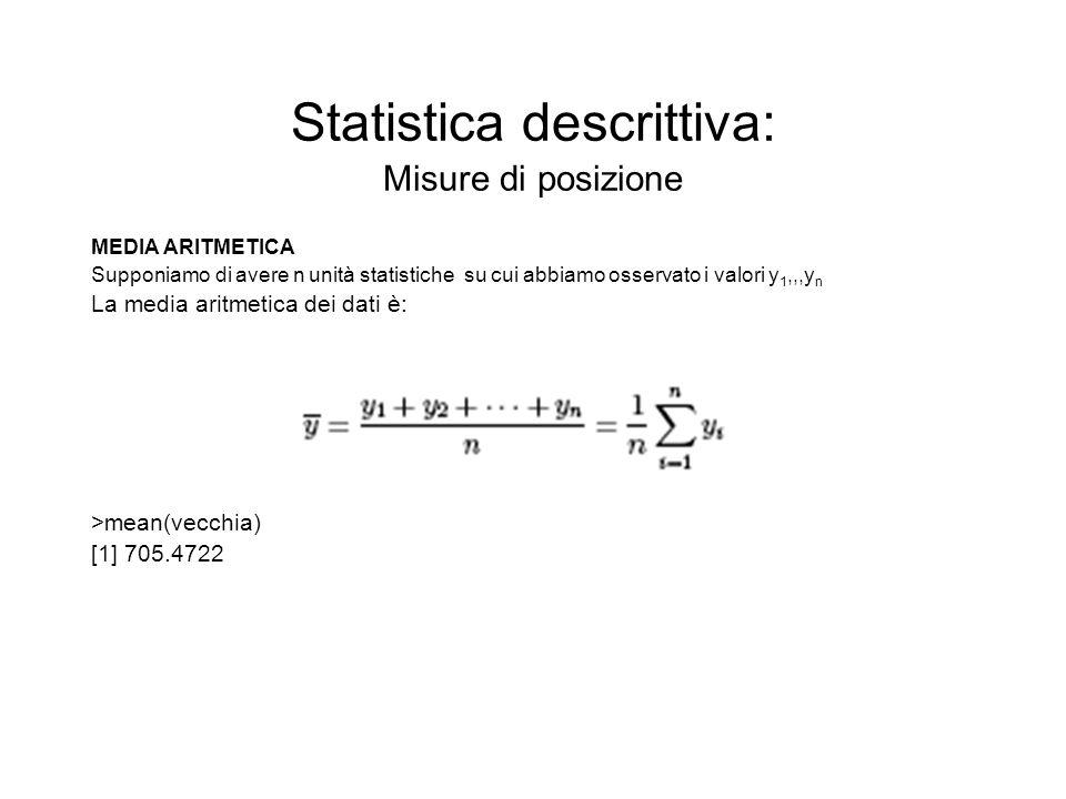 Statistica descrittiva: Misure di posizione