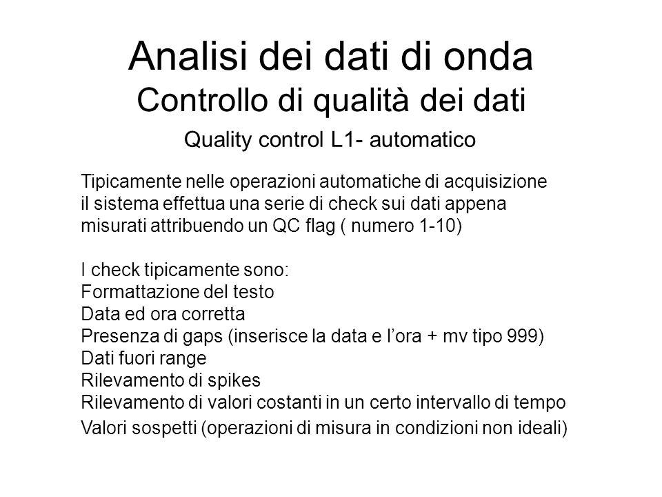 Analisi dei dati di onda Controllo di qualità dei dati