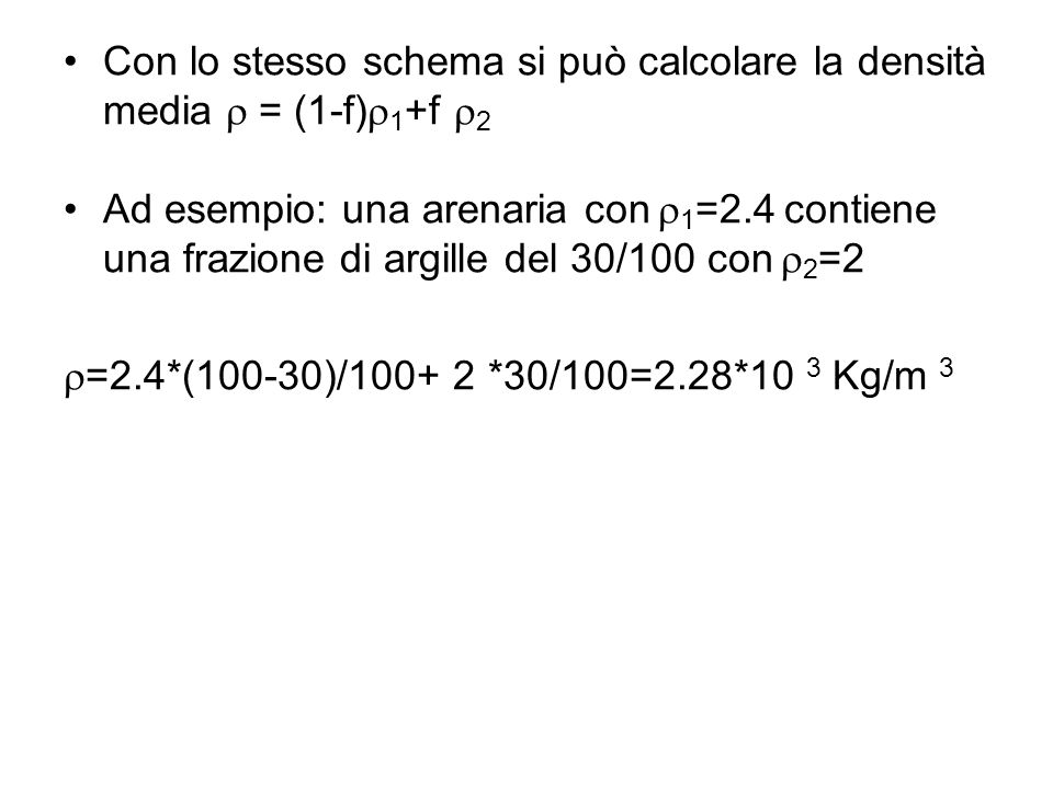 Con lo stesso schema si può calcolare la densità media r = (1-f)r1+f r2