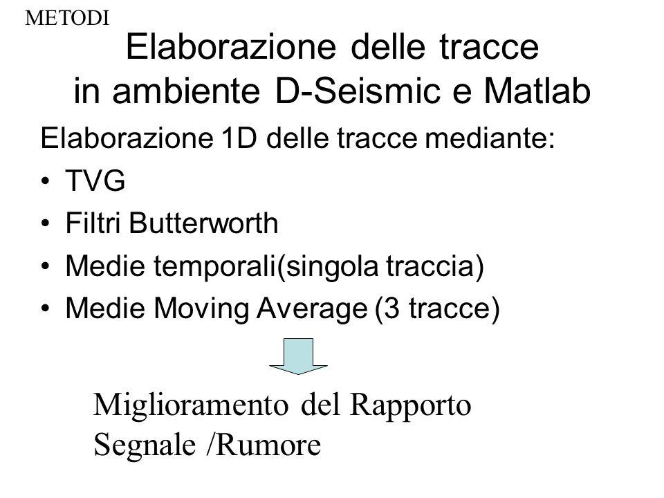 Elaborazione delle tracce in ambiente D-Seismic e Matlab