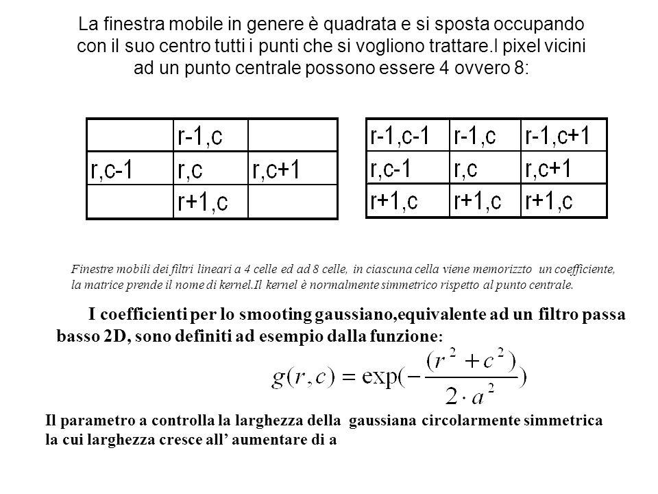 La finestra mobile in genere è quadrata e si sposta occupando con il suo centro tutti i punti che si vogliono trattare.I pixel vicini ad un punto centrale possono essere 4 ovvero 8: