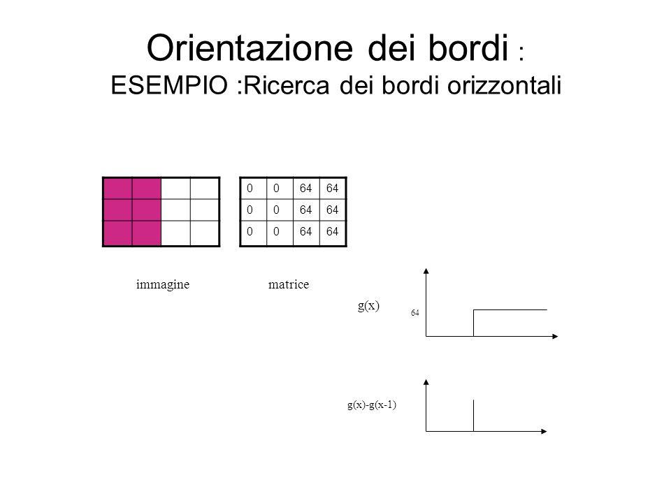 Orientazione dei bordi : ESEMPIO :Ricerca dei bordi orizzontali