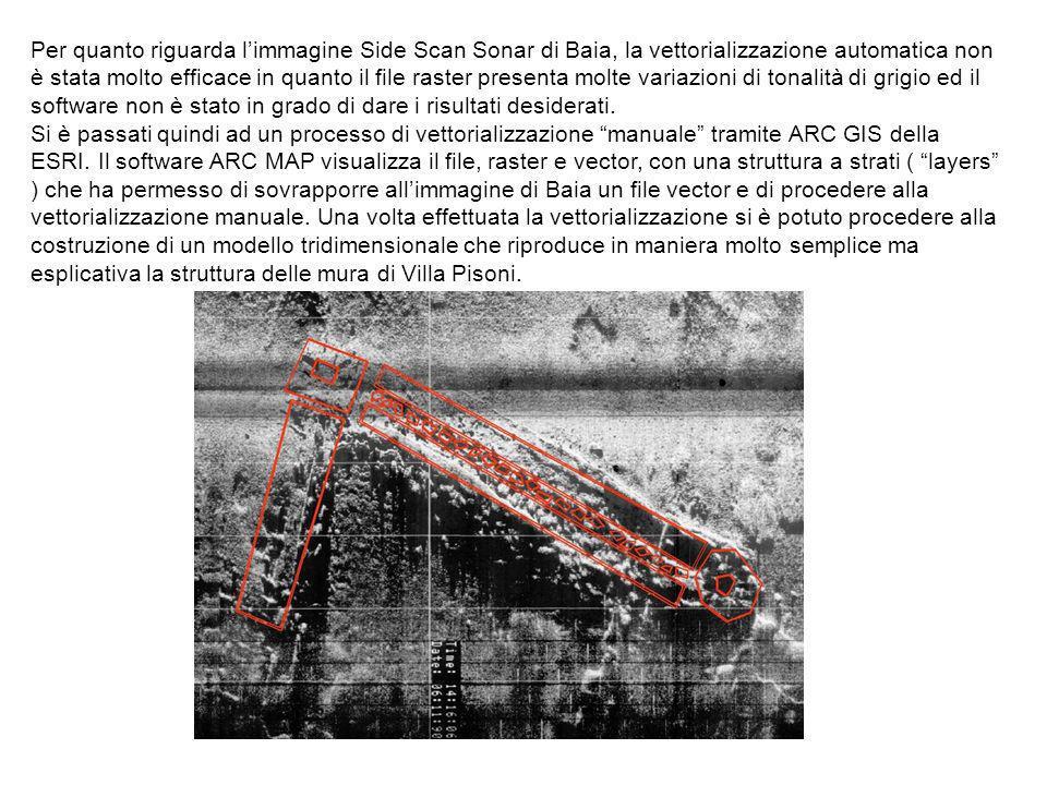 Per quanto riguarda l'immagine Side Scan Sonar di Baia, la vettorializzazione automatica non è stata molto efficace in quanto il file raster presenta molte variazioni di tonalità di grigio ed il software non è stato in grado di dare i risultati desiderati.