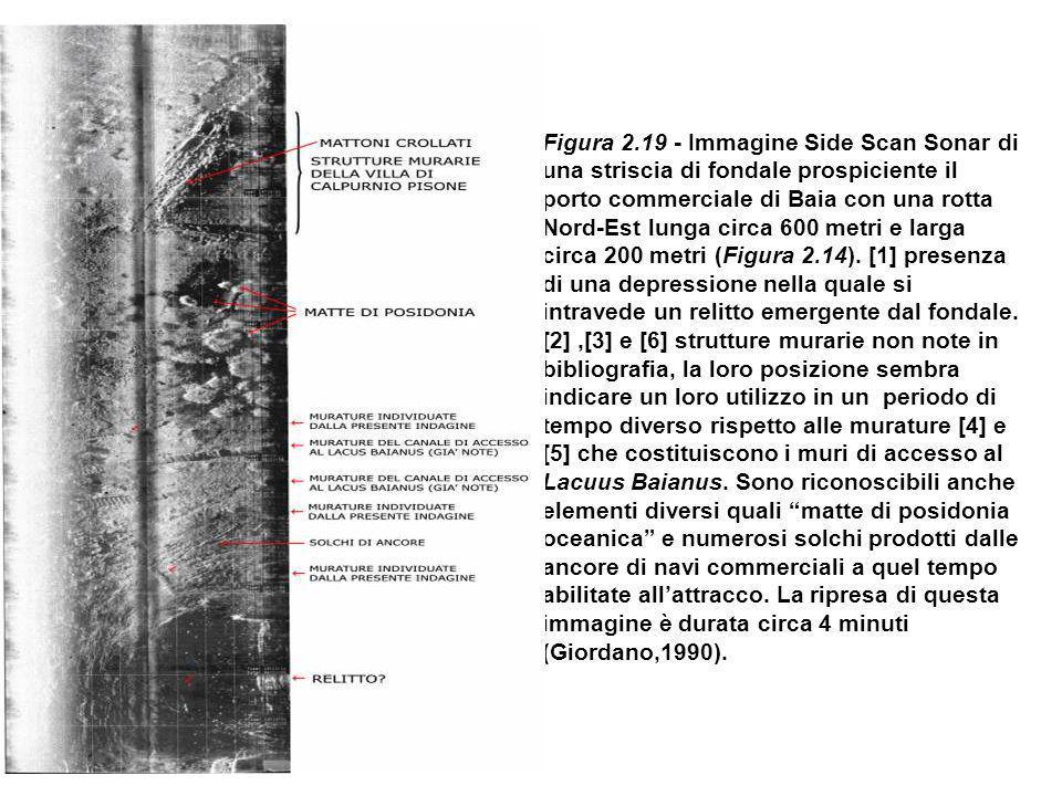 Figura 2.19 - Immagine Side Scan Sonar di una striscia di fondale prospiciente il porto commerciale di Baia con una rotta Nord-Est lunga circa 600 metri e larga circa 200 metri (Figura 2.14).