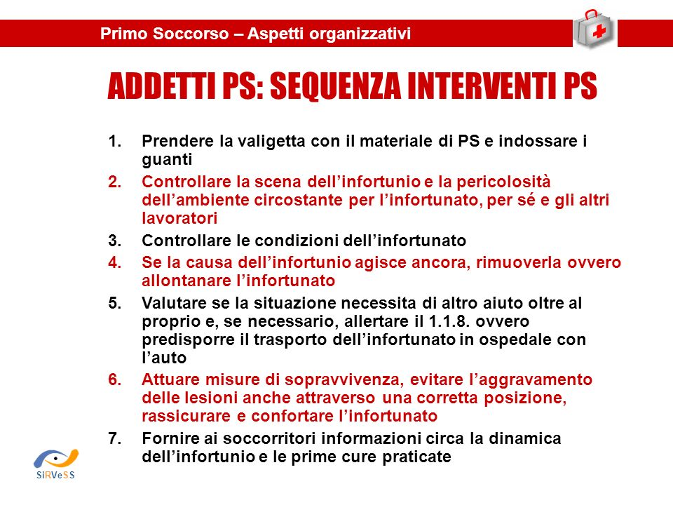 ADDETTI PS: SEQUENZA INTERVENTI PS