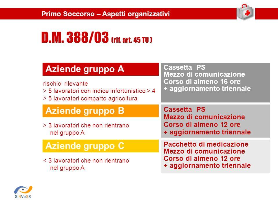D.M. 388/03 (rif. art. 45 TU ) Aziende gruppo A Aziende gruppo B
