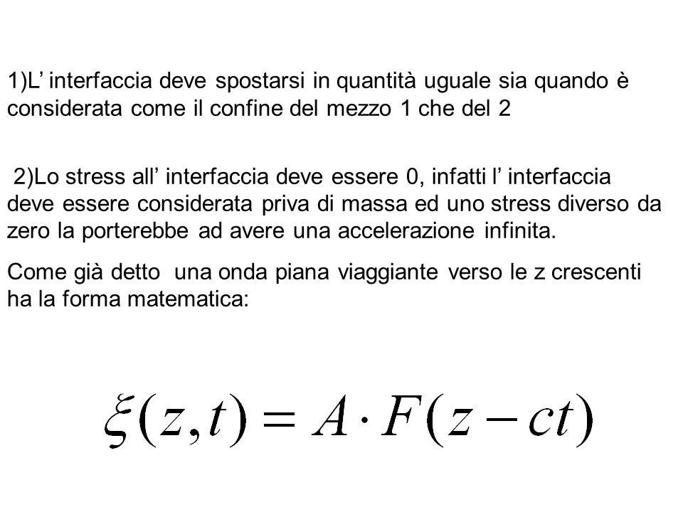 1)L' interfaccia deve spostarsi in quantità uguale sia quando è considerata come il confine del mezzo 1 che del 2